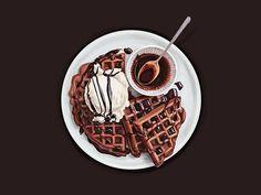 Chocolate waffles. Vector illustration.