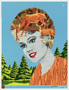 Designcamp Poster #deer #outdoors #woods #camp #illustration #portrait #pine #forest #trees