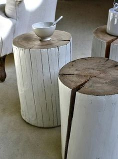 paint stumps! Love these #wood #interior #table #nature #log #accesories #tump