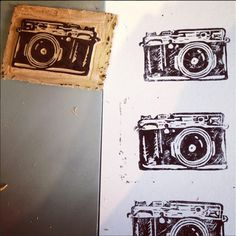 Camera prints by @bec #white #camera #print #linoleum #black #block #vintage #and #monochromatic