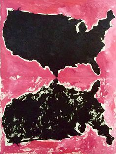 Rorschach America No.2, oil on canvas #america #map #black #painting