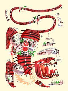 Tiger illustration, Red, Inside