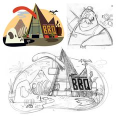 Process #illustration #process #sketch #bbq #dinosaurs #christopher lee #dinos #jasper #jurassic