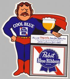 All sizes | Vintage Pabst Blue Ribbon Cool Blue Guy Sticker - 1970's | Flickr - Photo Sharing! #logo #illustration #retro #vintage