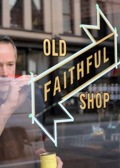 Old Faithful Shop - Blog - Hand-Lettered Signage #old #lettering #sign #signpainting #ptarmak #faithful #painting #type