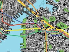 Absolutely wonderful hand drawn map of NYC by illustratorJenni Sparks, second only to Paula Scher