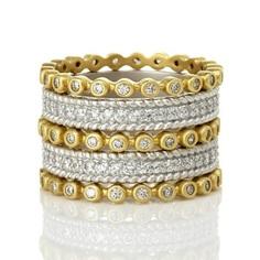 Two Tone Pavé 5-Stack Ring – Freida Rothman | Price: $275.00 | Product details @ https://bit.ly/2L1dA5Y. Buy now! #Rings #Jewelry #Fashion #FreidaRothman #NYC #NewYork #Brooklyn