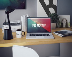 Laptop on desk with book and pictures mock up Premium Psd. See more inspiration related to Mockup, Book, Template, Laptop, Web, Website, Mock up, Desk, Templates, Website template, Mac, Macbook, Mockups, Up, Web template, Realistic, Pictures, Real, Web templates, Mock ups, Mock and Ups on Freepik.