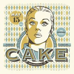 RONLEWHORN — CAKE gig poster #gig #design #retro #print #screen #illustration #poster