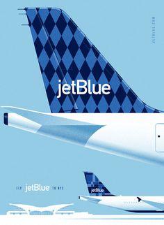 JetBlue Pitch byLab Partners #illustration #advertising #poster