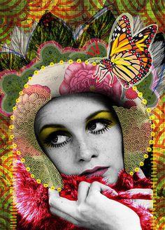 Tan llena de paz | Peperina Magenta #creative #arte #amor #woman #color #digital #ilustraciã³n #vintage #ilustration #art #collage #colour #love #work