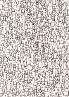 blank stares #white #herd #crowd #black #and #drawing