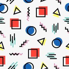 Memphis style pattern design Free Vector