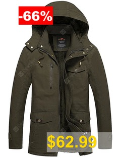 Men's #Plus #Velvet #Wide-waisted #Hooded #Jacket #Winter #Washed #Cotton #Coat #- #ARMY #GREEN