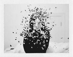 photo #girl #black and white #polaroid #flower