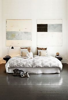 Abstract painting for relax in bedroom #interior #paintings #bedroom #decor #art #painting
