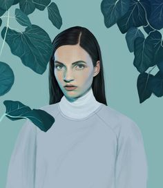 KEMI MAI | artnau #illustration #painting #beauty #portrait #woman #girl #ivy