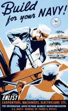 sgtwilkerson:Seabees Recruitment Poster #ww2 #poster #navy