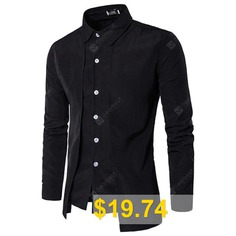 Simple #Style #Casual #Fashion #Designer #Shirts #for #Men #- #BLACK