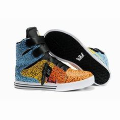 supra tk society high tops blue yellow black orange women shoes #fashion