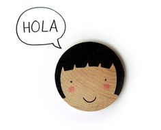 Happy Little Faces Hand Screenprinted Wood Brooch #illustration #etsy #hola