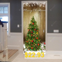 Christmas #Tree #Pattern #Door #Art #Stickers #- #WOOD #COLOR