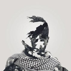 Double Exposure Photography by Yaser Almajed (12) #white #black #exposure #scarf #photography #double #and