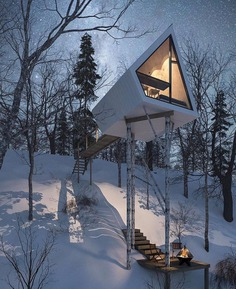 French chalet in the winter time.