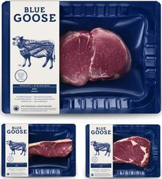 New Logo, Identity, and Packaging for Blue Goose Pure Foods by Sid Lee #logotype #packaging #illustration #blue #typography