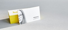 Letterpress business cards with portrait and painted edges
