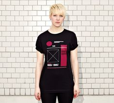NATRI - WIREFRAME- women - black t-shirt #modern #print #design #shirt #minimal #fashion #layout #typography
