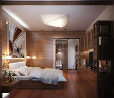 Masculine bedroom with a painting for wall decor #interior #paintings #bedroom #decor #art #painting