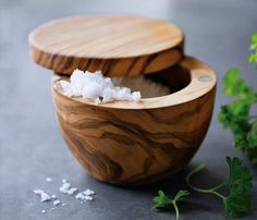 Olive Wood Salt Keeper #pot #salt #home
