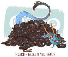 19 Delightfully Unusual Dragon Hoards To Covet #dragon #fantasy #horde #design #covet #hoard #illustration #vhs #reptile #art #den #treasure #tapes