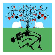 taking #skeleton #bunnies #dan #strawberries #mccarthy #symbiosis
