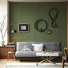 Grey couch green wall #living