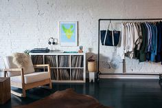 The Black Workshop #interior #white #bench #bags #bricks #room