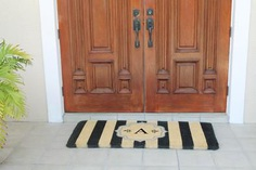 """Warrick Stripe Monogrammed Coir Double DoorMat - Durable and beautiful, this mat keeps shoes clean to protect your floors from mud, dirt and grime. Product Dimensions is - 24"""" x 57"""" x 1.5"""". Visit our store for the detailed information @ goo.gl/VV8FzV"""