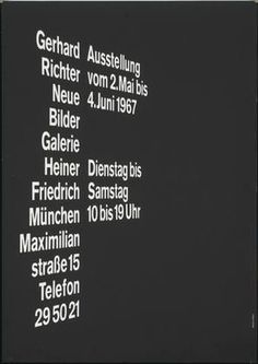 MoMA | The Collection | Mendell & Oberer, Pierre Mendell and Klaus Oberer. Gerhard Richter Neue Bilder, Galerie Heiner Friedrich, München. 1967 #pierremendell #poster #typography