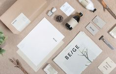 Beige branding packaging beauty natural cosmetics products beautiful corporate design identity minimal simple best trend designinspiration d