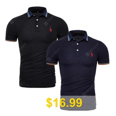 2PCS #New #Summer #Quality #Male #Polos #shirt #Solid #V-neck #Short #Sleeve #Polos #shirt #Men