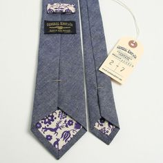 Italian Indigo Chambray & Vintage 1950s Print Necktie - Handmade Vintage Ties, Bow Ties, Pocket Squares, and Men\'s Furnishings - General Kn