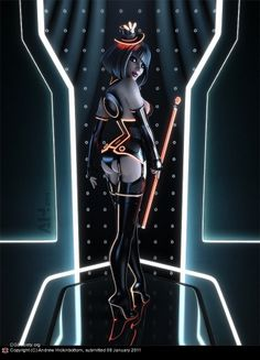 CGTalk - TRON pinup, Andrew Hickinbottom (3D) #sexy #animation #girl #tron #pinup