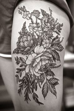 Floral thigh piece by Alice Carrier at Wonderland Tattoo in Portland, OR. guess i should be going to portland