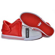 Male Supra Falcon Red and White Color Mid Tops - Patent Leather #shoes
