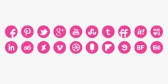 Round Pink Icons Set #pink #media #icons #social