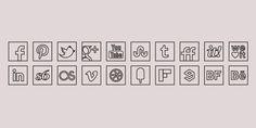 Black Line Colour Icons Set