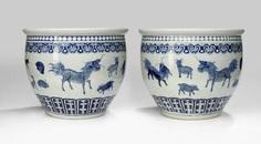 Pair of large Cachepots with zodiac decor in under glaze blue #Sets #Tea sets #Porcelain sets #Antique plates #Plates #Wall plates #Figures #Porcelain figurines #porcelain