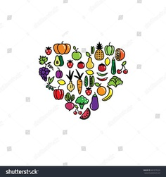 Heart made of fruits and vegetables. Vector illustration.