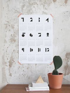 Graphic Porn #calendar #geometric #wall #poster #numbers #cactus #typography